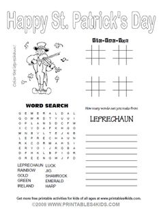 st. patrick's day activity page   St. Patrick's Day activity pages for kids yahoo images/various
