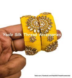 Yaalz Silk Thread Traditional Kundan Design Kada Bangle Pairs In Assor Silk Thread Earrings Designs, Silk Thread Bangles Design, Silk Bangles, Thread Jewellery, Gota Patti Jewellery, Rakhi Design, Antique Jewellery Designs, Bead Embroidery Patterns, Triangle Earrings