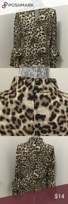 Leopard Print Blouse Leopard Blouse with Flamingo Style Sleeves - Great for Dancing! Tops Blouses