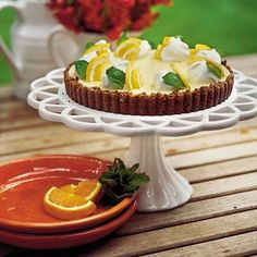 Double Citrus Tart - Sweet on Citrus Desserts - Southernliving. Easy as icebox pie, this party-pretty tart pairs the bright fresh flavors of… Citrus Tart Recipes, Orange Recipes, Pie Recipes, Dessert Recipes, Lemon Recipes, Dessert Tarts, Dessert Ideas, Brunch Recipes, Spring Desserts
