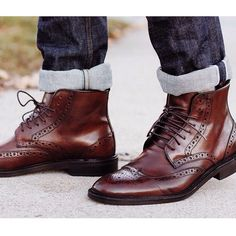 Guys can always use a nice pair of boots! That's some great brogue action.