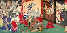 於吹島之館 直之古狸退治図(1600×781)Specter of old badger vs. Samurai