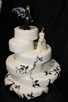 white wedding cake dark themed - Different Round Cake Design Halloween Wedding Cakes, Funny Wedding Cakes, Wedding Humor, Wedding Cake Toppers, Wedding Day, Halloween Cakes, Wedding White, Trendy Wedding, Perfect Wedding