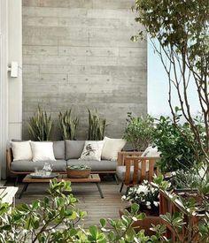une terrasse design / bois et gris