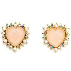 Rhinestone Rim Heart Stud Earrings ($6) ❤ liked on Polyvore
