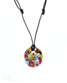 Murano glass flower pendant necklace, Colorful necklace, Murano necklace, Flower pendant - pinned by pin4etsy.com