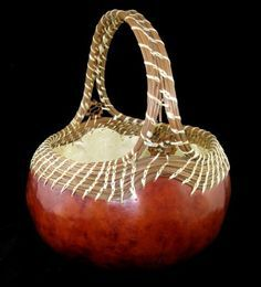 Pine Ridge Pine Needle and Gourd Basket by GourdsInCostume on Etsy