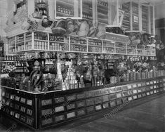 Grocery Food Market Stocked Shelves 1905 Vintage 8x10 Reprint Of Old Photo