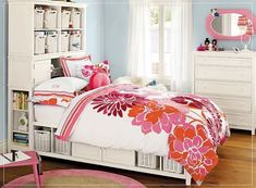 girls room and love those wicker baskets under bed for storage...open and uncluttered.