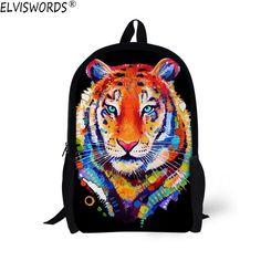 """School Bag Mens Kids 17/"""" Shoulder Satchel Bookbags Animal Tiger Backpack Daypack"""