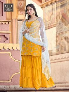 Rs4,000.00 Party Wear Indian Dresses, Indian Outfits, Indian Clothes, Sharara Suit, Salwar Kameez, Anarkali Suits, Salwar Suits Online, Stylish Suit, Latest Sarees