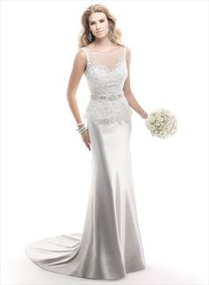 Pippa - by Maggie Sottero - A delicate embroidered lace bolero featuring opalescent beads and grosgrain ribbon belt with Swarovski crystals enrich the sleek, simple beauty of this Valentina Satin slip dress. Finished with zipper back closure. COLORS AVAILABLE White, Ivory (shown)