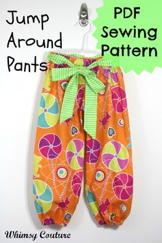 PDF/Downloadable Sewing Patterns by Whimsy Couture: Jump Around Pants Ebook
