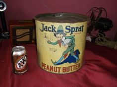 Antique Jack Sprat 25 Ib Peanut Butter Tin Can / Sign