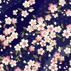 Papier Chiyogami ou yuzen - jolies vagues de fleurs de cerisier roses sur indigo, 9 x 12 pouces