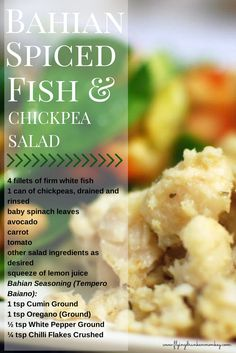 Sponsored Recipe & Giveaway ★ Bahian Spiced Fish & Chickpea Salad - The Flying Drunken Monkey Spinach Leaves, Baby Spinach, Avocado Baby, Chickpea Salad, Just Cooking, Salad Ingredients, Spice Mixes, Mashed Potatoes, Monkey