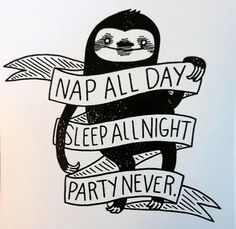 """""""Nap all day, sleep all night, party never"""" sloth"""