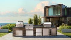 A luxurious outdoor kitchen created for Lynx Grills, combining grill, smoker and pizza oven in a seaside landscape that makes you dream! Two Twin Beds, Pizza, Visualisation, Shared Bedrooms, Trendy Home, At Home Gym, Lynx, Grills, Cozy House