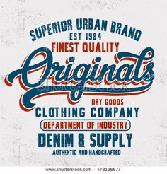 Vintage Denim Typography T Shirt Other Stock Vector (Royalty Free) 598534535