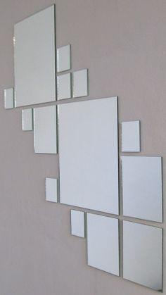 kit o juego de 25 espejos cuadrados para decoración
