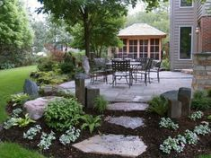 Amazing DIY Slate Patio Design and Ideas – Onechitecture - front yard landscaping ideas with rocks Outdoor Landscaping, Front Yard Landscaping, Backyard Patio, Outdoor Gardens, Landscaping Ideas, Patio Ideas, Hillside Landscaping, Backyard Ideas, Walkway Ideas