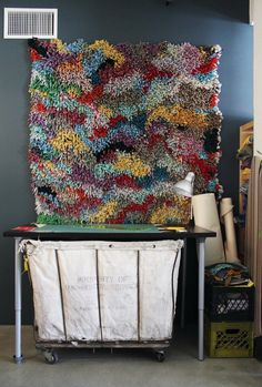 """Rug (knotted fleece created by Adam) Adam & Daniel's """"Boclectic Craftern"""" Loft http://www.apartmenttherapy.com/adam-and-daniels-crafty-and-ec-148279#gallery/29313/3"""