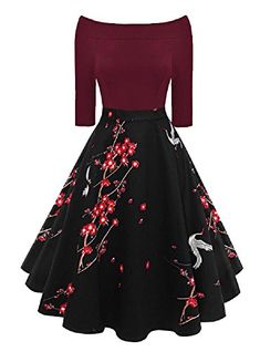 b978d46f00a New Vintage Off The Shoulder High Waist 3 4 Sleeve Floral Patchwork Pockets  Cocktail Party Dress online shopping