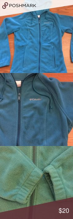 Columbia fleece hooded jacket Pretty teal colored Columbia jacket with a hood!  Size small and in great shape.  Looks practically new 😍. The first photo shows the color best. Columbia Jackets & Coats