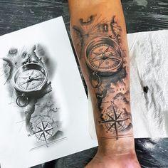 Tattoodo - Tattoo uploaded by Victor Espeschit Tattoo Compass Tattoo Forearm, Compass And Map Tattoo, Compass Tattoo Design, Forearm Sleeve Tattoos, Best Sleeve Tattoos, Tattoo Sleeve Designs, Tattoo Designs Men, Pirate Compass Tattoo, Compass Tattoos For Men