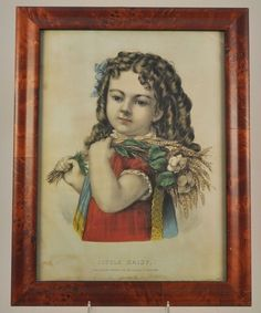 "Currier Ives Original Framed Hand Colored Lithograph ""Little Daisy"" 