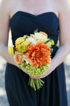#Bouquet | #Dahlia #Roses | Sabine Scherer Photography | See the wedding on SMP - http://www.StyleMePretty.com/little-black-book-blog/2014/01/08/casual-stryker-winery-wedding/