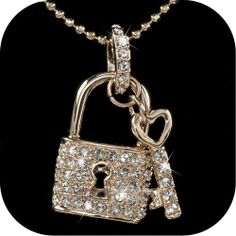 Swarovski Crystal Key & Lock Pendant Necklace Yellow GP. Starting at $3 on Tophatter.com!