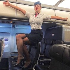 Online shopping from a great selection at Clothing, Shoes & Jewelry Store. British Airways Cabin Crew, Air Hostess Uniform, Flight Attendant Hot, Flight Girls, Airline Uniforms, Military Women, Black Stockings, Sexy Legs, Summer Outfits