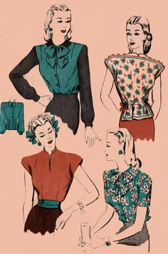 Four Star Peplum Blouse Hollywood Pattern 1523 Vintage Sewing Pattern Size 14 Bust 32 by sandritocat on Etsy Retro Pattern, Vintage Sewing Patterns, Pattern Sewing, 1940s Fashion, Vintage Fashion, Vintage Dresses, Vintage Outfits, Love Clothing, Peplum Blouse