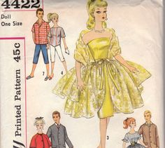 Vintage Barbie Doll Clothes Pattern Simplicity by OneMoreCupOfTea