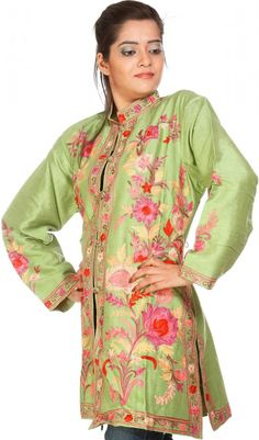 Tea-Green Jacket from Kashmir with Ari Embroidery All-Over