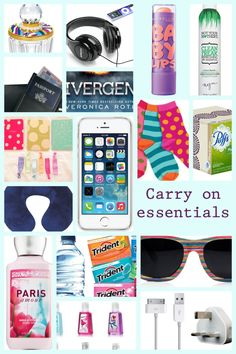 Some carry on essentials. Just get rid of divergent and the scented hand cream.