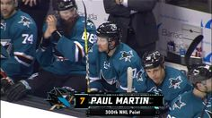 Congrats to Paul Martin, who earned his 300th NHL point with the assist on Burns's goal