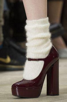 Miu Miu at Paris Fashion Week Fall 2018 - Burgundy heels with wool socks. Burgundy heels with wool socks. Burgundy heels with wool socks. Dr Shoes, Sock Shoes, Cute Shoes, Me Too Shoes, Shoes Sandals, Fashion Week Paris, New York Fashion, Runway Fashion, London Fashion