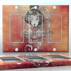 DIY Do It Yourself Home Decor - Easy to apply wall plate wraps | The Secret of the Geisha Beautiful Japanese image with flowers and poem wallplate skin sticker for 3 Gang Decora LightSwitch | On SALE now only $5.95