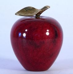 Very Heavy Red Decorative Marble Apple W/ Gold Look Stem & Leaf