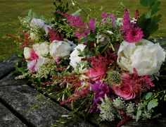 Astilbe, peonies and rose bouquet
