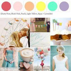 {A Day to Celebrate}: Dusty Rose, Blush Pink, Peach, Light Yellow, Aqua + Lavender