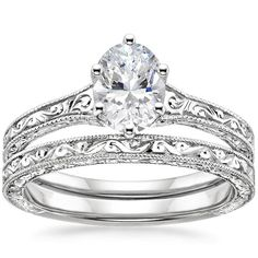 18K White Gold Hudson Matched Set from Brilliant Earth;; PERFECT. 1-2 carat solitaire diamond, round or oval, delicate engraving on thin bands