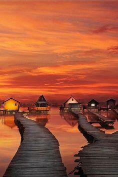 Sunrise in Bokodi Lake, Oroszlány, Hungary