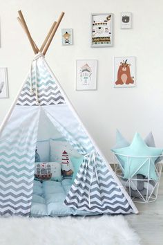 Kids teepee with mint chevron (zigzag) to buy on Etsy - HappySpacesWorkshop - mint and grey boys room ideas, kids room decor, indoor outdoor playtent, wigwam
