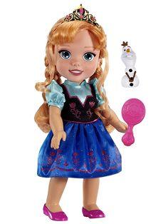 Somalla Anna-nukella on ihana prinsessamekko ja kruunu. Mukana pinkki hiusharja ja Olaf-lumiukko. Nuken korkeus 35 cm. 3+