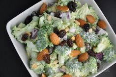 Healthy Broccoli Salad with Raisins and Almonds Broccoli Salad With Raisins, Healthy Broccoli Salad, Raw Broccoli, My Recipes, Healthy Recipes, Vitamin A, Protein, Vegetarian, Dressings
