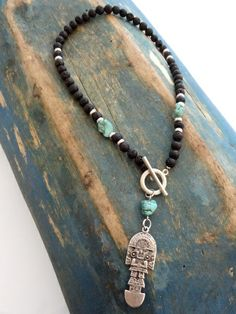 Inka style lava and magnesite necklace