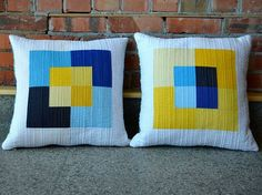 """""""Canvas"""" pillows by she can quilt"""